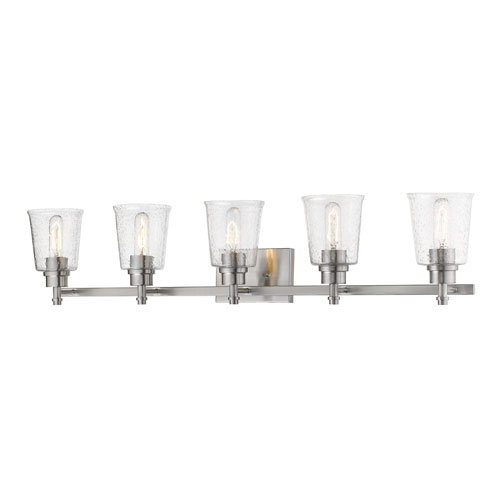 Bohin Brushed Nickel  Five-Light Bath Vanity