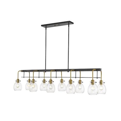 Kraken Matte Black and Olde Brass 10-Light Pendant With Transparent Glass