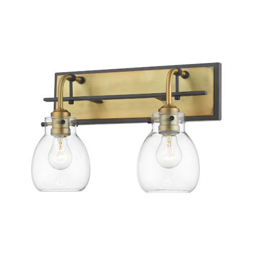 Kraken Matte Black and Olde Brass Two-Light Wall Sconce With Transparent Glass