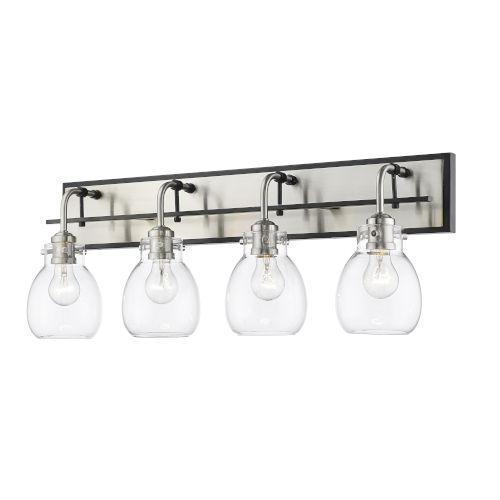 Kraken Matte Black and Brushed Nickel Four-Light Vanity With Transparent Glass