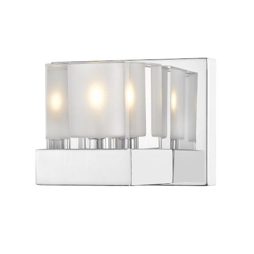 Fallon Chrome One-Light Wall Sconce With Transparent + Frosted Crystal