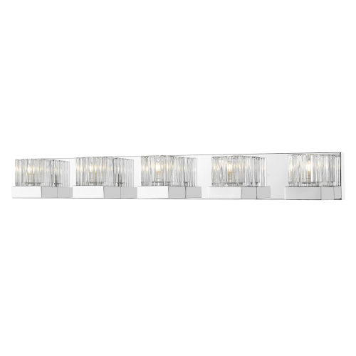 Fallon Chrome LED Five-Light Vanity With Transparent Ribbed + Frosted Crystal