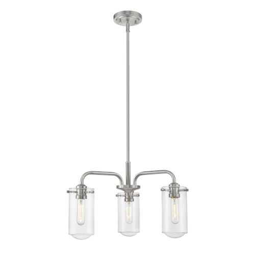 Delaney Brushed Nickel Three-Light Chandelier With Transparent Glass
