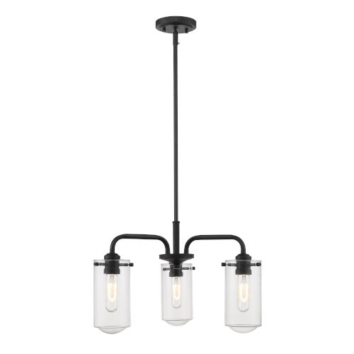 Delaney Matte Black Three-Light Chandelier With Transparent Glass