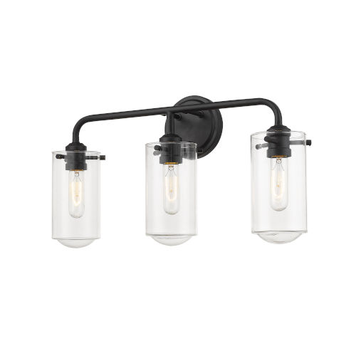 Delaney Matte Black Three-Light Vanity With Transparent Glass