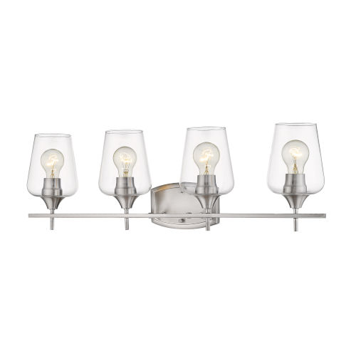 Joliet Brushed Nickel Four-Light Vanity with Transparent Glass