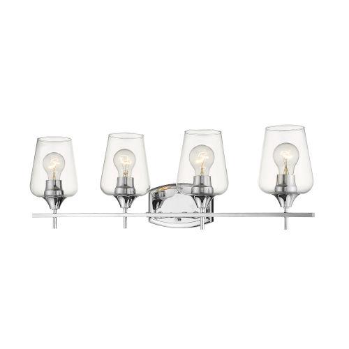Joliet Chrome Four-Light Vanity with Transparent Glass