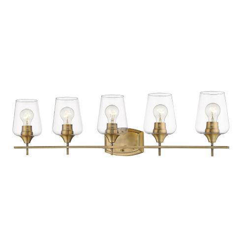 Joliet Olde Brass Five-Light Vanity with Transparent Glass