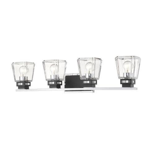 Jackson Chrome and Matte Black Four-Light Vanity with Transparent Glass
