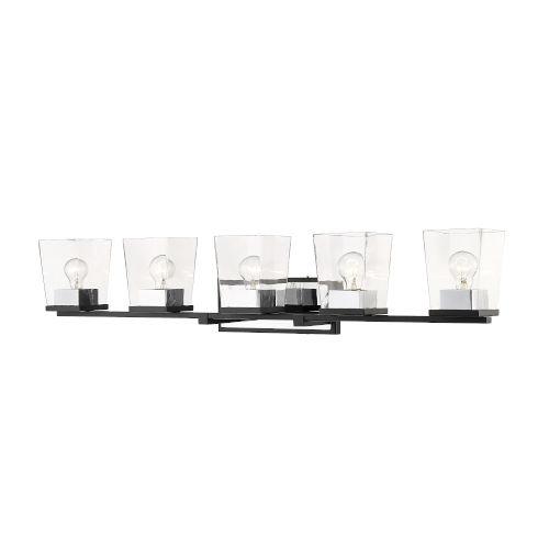 Bleeker Street Matte Black and Chrome Five-Light Vanity with Transparent Glass