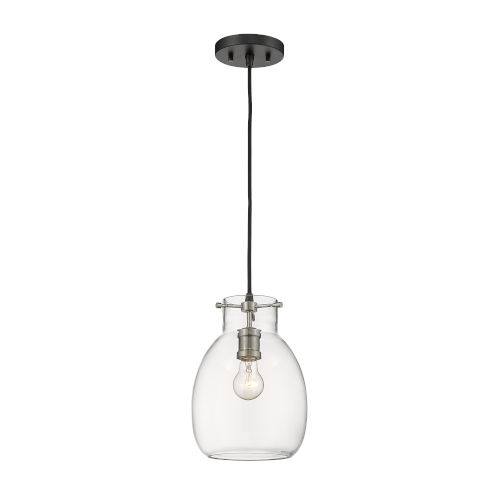 Bella Matte Black and Brushed Nickel One-Light Mini Pendant with Transparent Glass