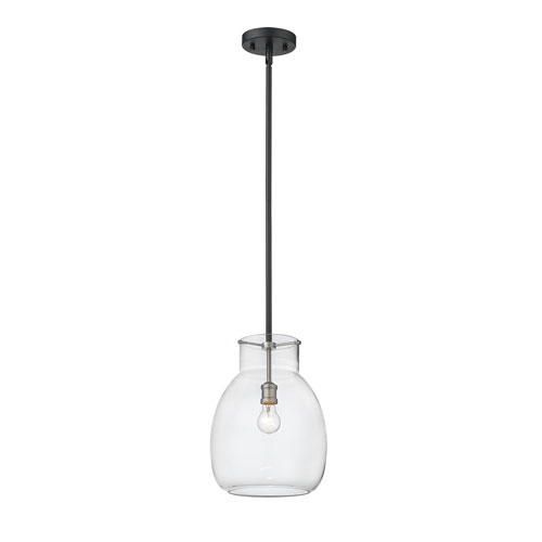 Bella Matte Black and Brushed Nickel One-Light Pendant