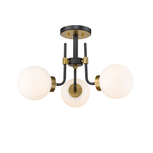 Parsons Matte Black and Olde Brass Three-Light Semi Flush Mount
