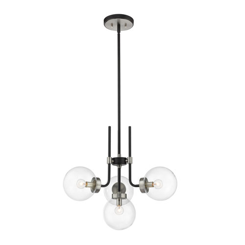 Parsons Matte Black and Brushed Nickel Four-Light Chandelier