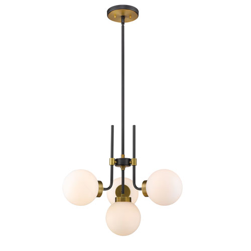 Parsons Matte Black and Olde Brass Four-Light Chandelier