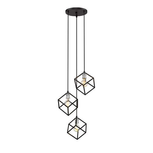 Vertical Matte Black and Brushed Nickel Three-Light Pendant