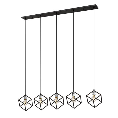 Vertical Matte Black and Brushed Nickel Five-Light Island Chandelier