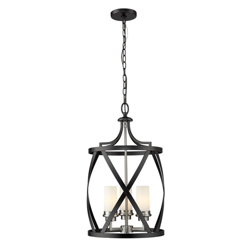Malcalester Matte Black and Brushed Nickel Three-Light Pendant
