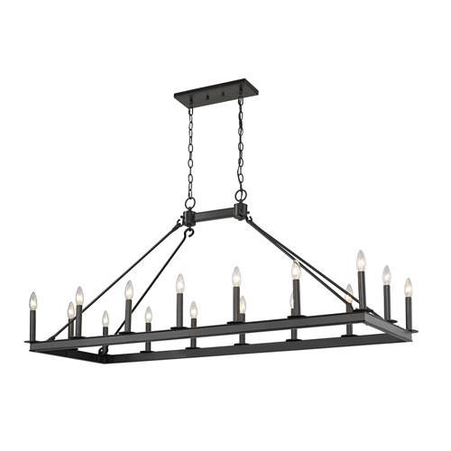 Barclay Matte Black 16-Light Island Chandelier