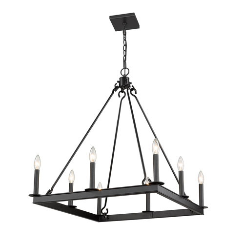 Barclay Matte Black 26-Inch Eight-Light Chandelier