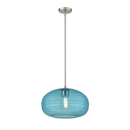 Harmony Brushed Nickel and Blue 14-Inch One-Light Pendant