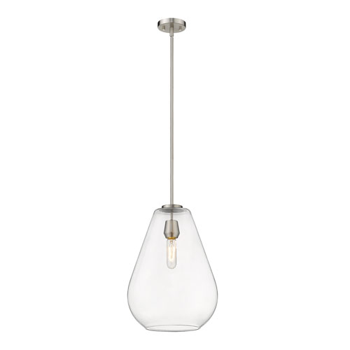 Ayra Brushed Nickel and Clear 12-Inch One-Light Pendant