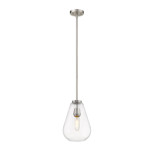 Ayra Brushed Nickel and Clear 8-Inch One-Light Pendant