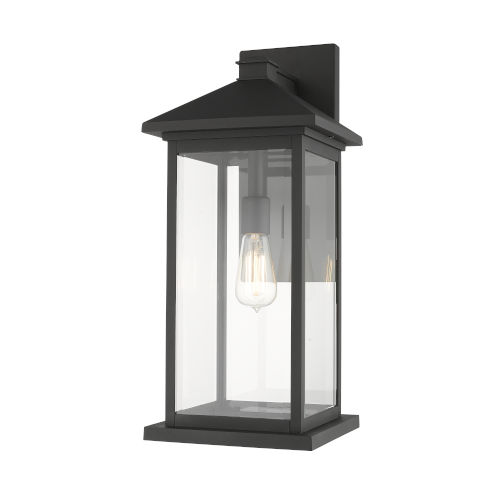 Black One-Light Outdoor 9-Inch Wall Sconce With Transparent Beveled Glass