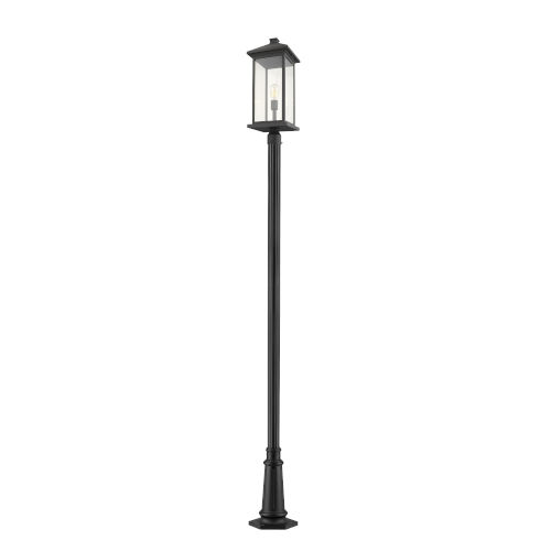 Black 12-Inch One-Light Outdoor Post Mounted Fixture With Transparent Beveled Glass