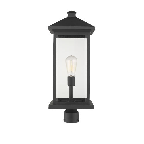Black 9-Inch One-Light Outdoor Post Mounted Fixture With Transparent Beveled Glass