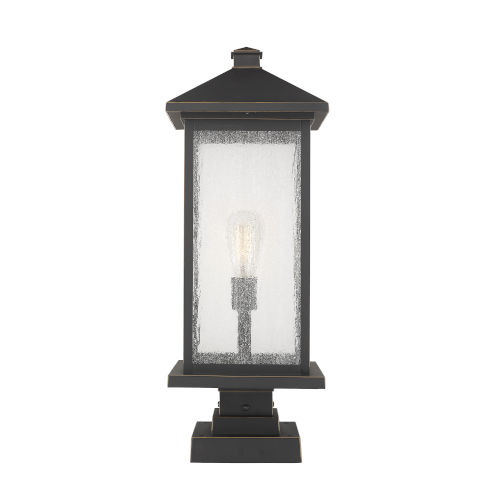 Oil Rubbed Bronze One-Light Outdoor Pier Mounted Fixture With Transparent Beveled Glass