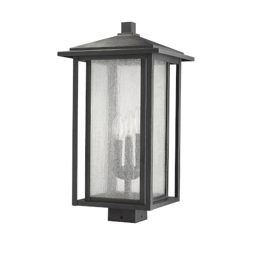 Aspen Black Three-Light Outdoor Post Mount
