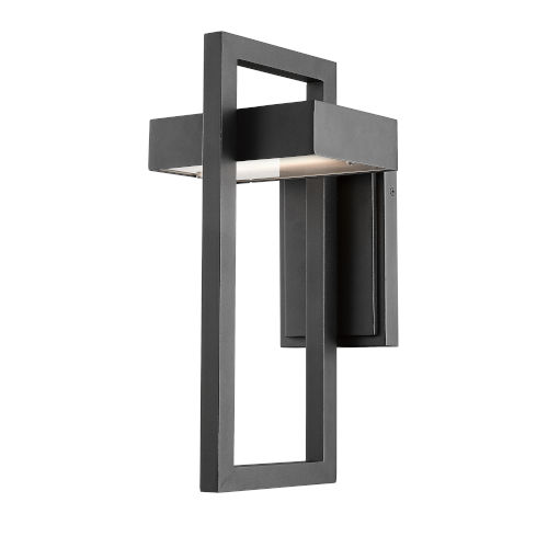 Luttrel Black 15-Inch LED Outdoor Wall Sconce with Frosted Glass