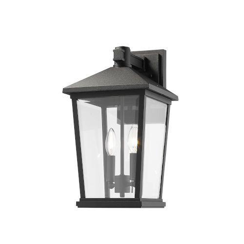 Beacon Black Two-Light Outdoor Wall Sconce With Transparent Beveled Glass
