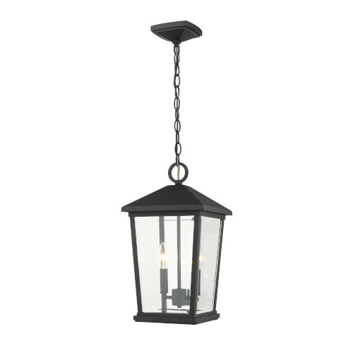 Beacon Black Two-Light Outdoor Pendant With Transparent Beveled Glass