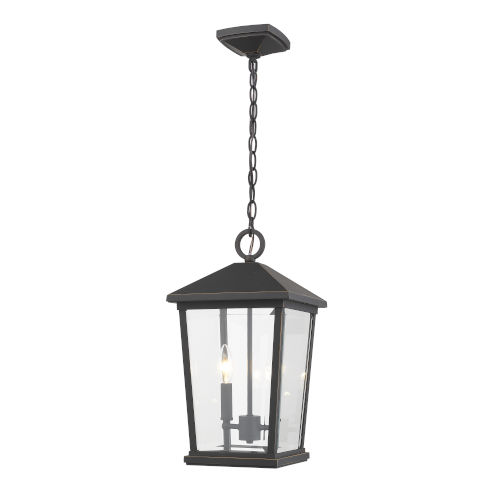 Beacon Oil Rubbed Bronze Two-Light Outdoor Pendant With Transparent Beveled Glass