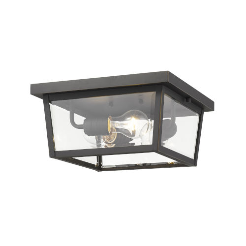 Beacon Oil Rubbed Bronze Three-Light Outdoor Flush Ceiling Mount Fixture With Transparent Beveled Glass