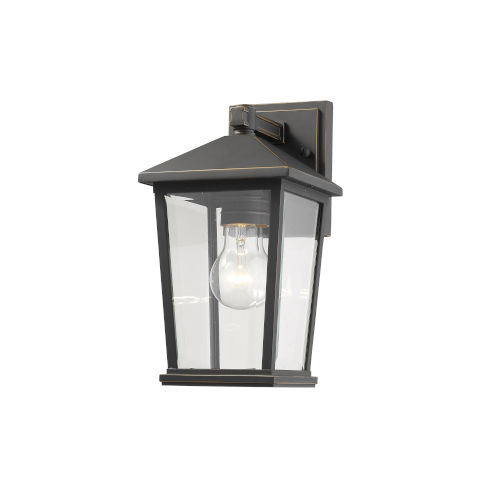 Beacon Oil Rubbed Bronze One-Light Outdoor Wall Sconce With Transparent Beveled Glass