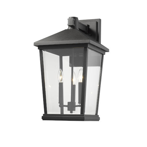 Beacon Black Three-Light Outdoor Wall Sconce With Transparent Beveled Glass