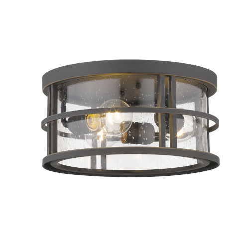 Jordan Oil Rubbed Bronze Three-Light Outdoor Flush Ceiling Mount Fixture With Transparent Seedy Glass