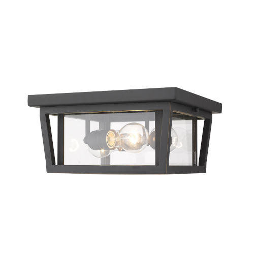 Seoul Oil Rubbed Bronze Three-Light Outdoor Flush Ceiling Mount Fixture With Transparent Glass