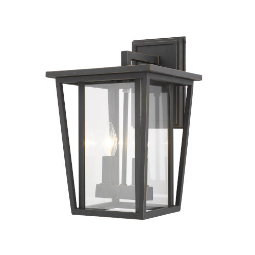 Seoul Oil Rubbed Bronze Two-Light Outdoor Wall Sconce With Transparent Glass