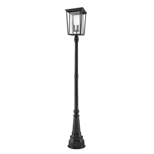 Seoul Black Three-Light Outdoor Post Mounted Fixture With Transparent Glass