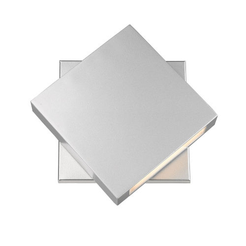 Quadrate Silver LED One-Light Outdoor Wall Sconce With Sand-blast Glass