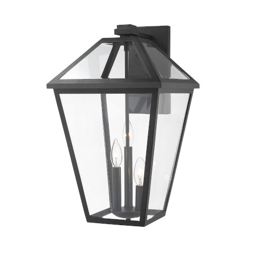 Talbot Black Three-Light Outdoor Wall Sconce with Transparent Bevelled Glass