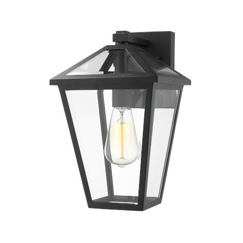 Talbot Black One-Light Outdoor Wall Sconce with Transparent Bevelled Glass