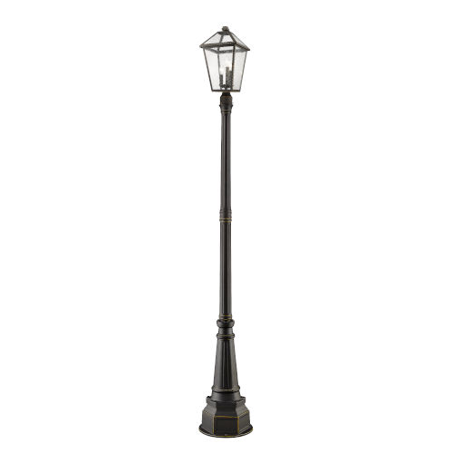 Talbot Rubbed Bronze Three-Light Outdoor Post Mounted Fixture with Seedy Glass