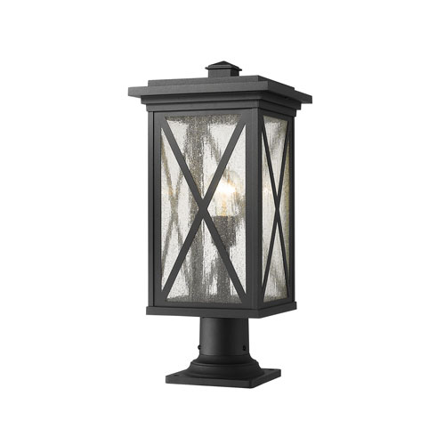 Brookside Black 22-Inch One-Light Outdoor Pier Mount