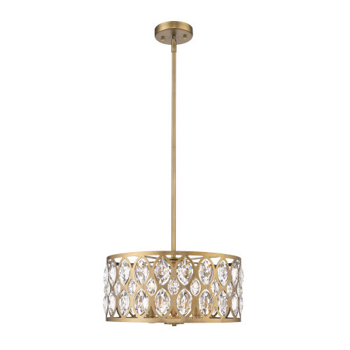 Dealey Heirloom Brass Five-Light Chandelier With Transparent Crystal