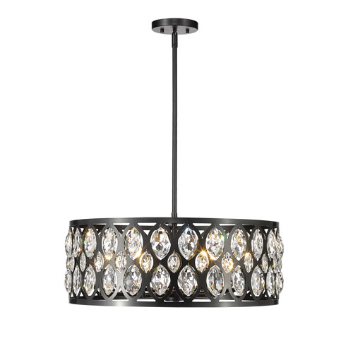 Dealey Matte Black Six-Light Chandelier